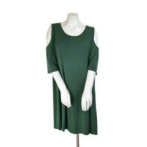 Heart & Hips Green Cold Shoulder Soft Casual Dress